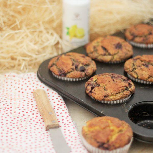Muffins de Arándanos, Avena y Aceite de Limón